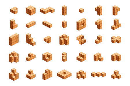 wooden cubes isometric for children learning, wood cubes sample with different isolated on white, 3d cubes wood for logic counting of preschool children, block wooden square for mathematical game kids