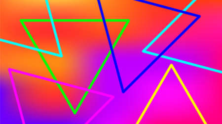 colorful light beam with triangle line shape for background, night light effect with colorful background, geometric triangle LED light be bright, neon light beam triangle shape for wallpaper graphic
