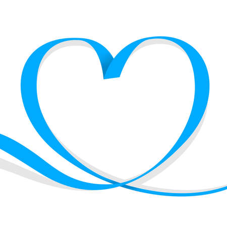ribbon light blue heart shape isolated on white, ribbon line blue heart-shaped, heart shape ribbon stripes blue, copy space, border tape curl heart shaped for decoration greeting valentine's day Stock Illustratie