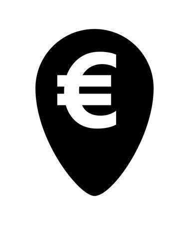 euro currency symbol in pin point for icon isolated on white, euro money for app icon, simple flat euro money, currency digital euro symbol for financial concept