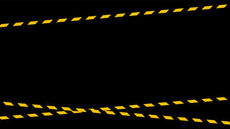 tape line yellow black stripe pattern isolated black background, warning space with ribbon tape sign or comfort safety zone, safety banner for copy space, ribbon yellow black stripe, tape line caution Stock Illustratie