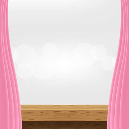 empty wood table and luxury pink curtains for advertise product display Vettoriali