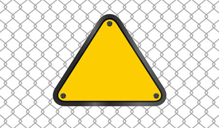 yellow triangle emblem notice on wire mesh background