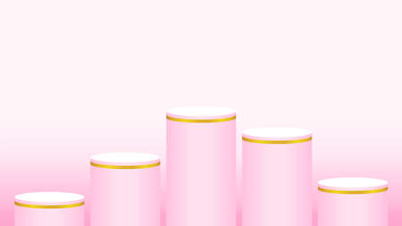pink pedestal cylinder circle five steps for cosmetics showcase