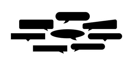 speech bubble black horizontal shape isolated on white background Vettoriali