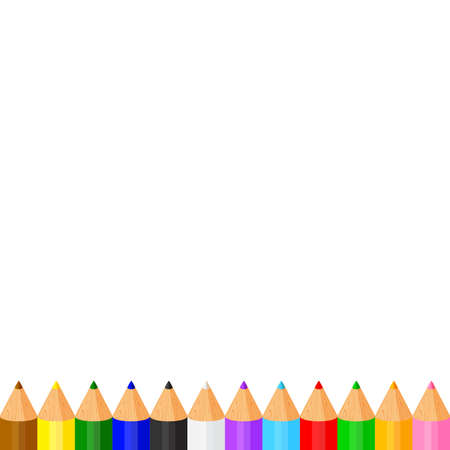 colorful pencils crayon pastel cute in a row on white copy space, collection colored pencils rows for banner preschool kids, clip art crayon pencil cartoon, rainbow pencil kindergarten child learning