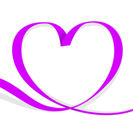 ribbon purple heart shape isolated on white background