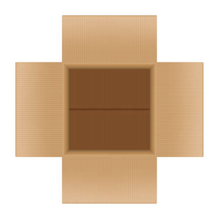 open crate boxes top view, cardboard box brown Vettoriali
