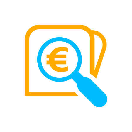 magnifying glass with euro currency money search icon Vettoriali