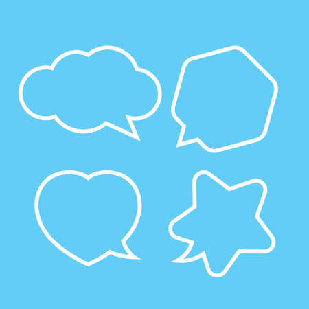 cute speech bubble white isolated on light blue, chatting symbol, star, heart shape, hexagon and cloud speech bubble white color for copy space, collection speech bubble for banner graphic design