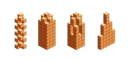wooden cubes isometric for children learning, tower wood cubes sample different isolated on white, 3d cubes wood for logic counting of preschool children, block wooden square for mathematical game kid Vecteurs