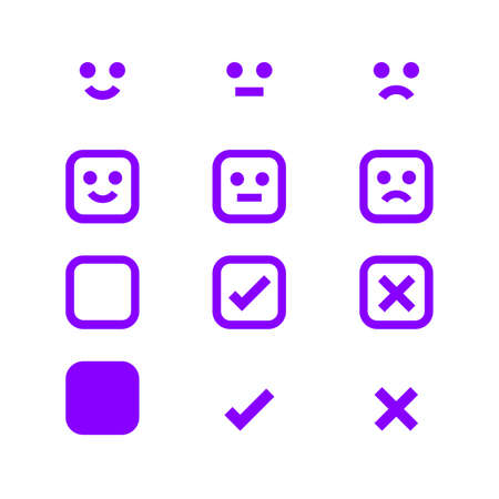 purple glowing icon emotions face, emotional symbol and approval check sign button, fluorescent emotion faces and check mark x or confirm and deny, button glowing flat for apps, icon checkmark shining