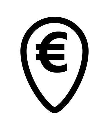 euro currency symbol in pin point for icon isolated on white, euro money for app icon, simple flat euro money, currency digital euro symbol for financial concept Vettoriali