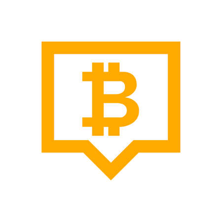bitcoin currency symbol in speech bubble square orange for icon, cryptocurrency bitcoin money for app symbol, simple flat bitcoin money, currency digital bitcoin symbol for financial concept