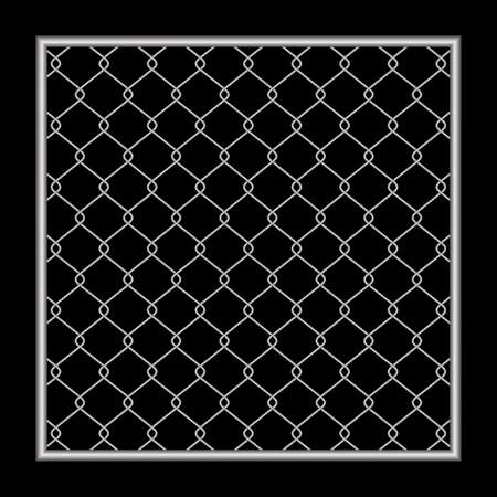 metal fence wire mesh isolated on black background, net fence silver steel, mesh silver object illustration, iron barbed wire frame