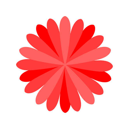 red flower single isolated on white background, petals flower red for clip art, illustration flower for kids, simple flower for card decoration graphic
