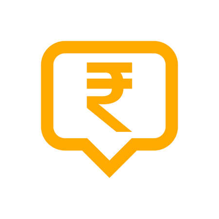 rupee currency symbol in speech bubble square shape for icon, rupee money for app symbol, simple flat rupee money orange, currency digital rupee coin for financial concept