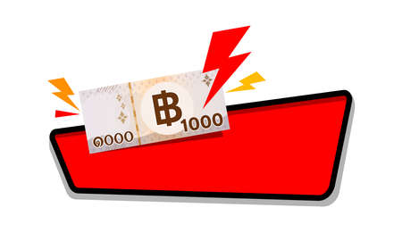 1000 baht thai money with thunder icon on red label for banner