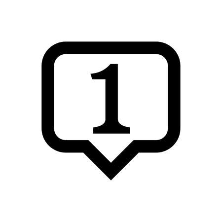 icon number 1 in speech bubble square black isolated on white, first symbol square shape, 1st symbol for success or quality