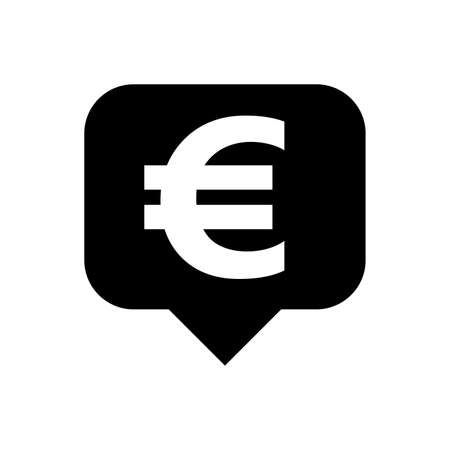 euro currency symbol in speech bubble square black for icon, euro money for app symbol, simple flat euro money, currency digital euro coin for financial concept