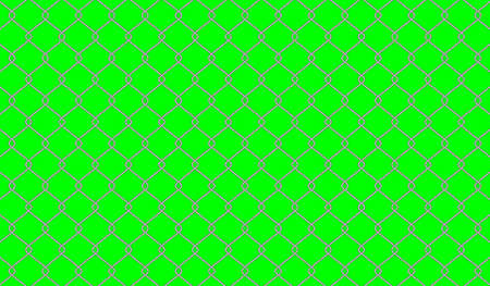 steel wire fence on green screen background, fence metal grid, wire iron fence isolated on green