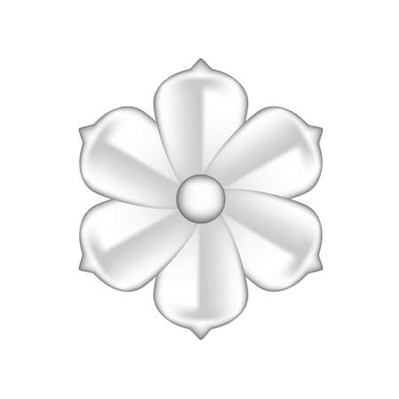 single flowers silver ornate isolated on white background, luxury flower petal silver simple, silver flowers object metal sculpture, illustration of deluxe silver flower, clip art flowers luxurious 矢量图像