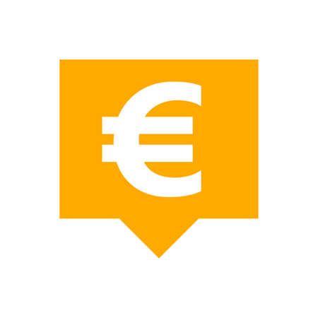 euro currency symbol in speech bubble square orange for icon, euro money for app symbol, simple flat euro money, currency digital euro coin for financial concept