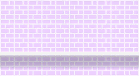 purple soft brick wall pattern with shelf for background, modern pastel purple wall brick pattern for decoration architecture, brick tile wall and plank shelf, brick tiled grid of toilet wall Stock Illustratie
