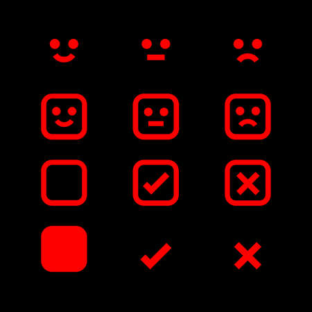 red glowing icon and emotions face, emotional symbol and approval check sign, fluorescent emotions faces and checkmark x or confirm and deny, button glowing flat for apps, icons red for check mark