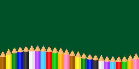 colorful pencils crayon pastel cute on blackboard and copy space, collection colored pencils rows for banner preschool kids, clip art crayon pencil cartoon, rainbow pencil kindergarten child learning