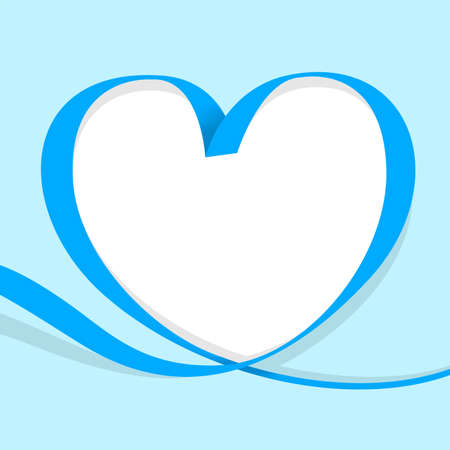ribbon heart shape blue isolated on  blue pastel, ribbon line blue heart-shaped, heart shape ribbon stripes blue, copy space, border tape curl heart shaped for decoration greeting valentine's day Stok Fotoğraf - 154522660