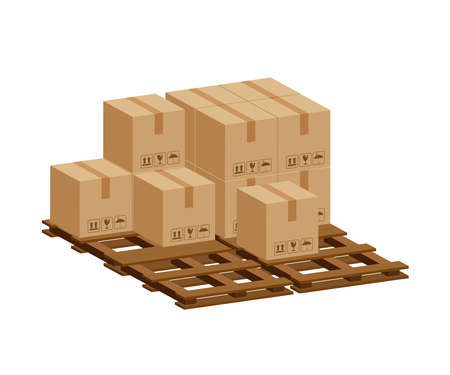 pile crate boxes 3d on wooden pallet, wood pallet with cardboard box in factory warehouse storage, cardboard parcel boxes stack of warehouse factory, packaging cargo, boxes brown isolated on white