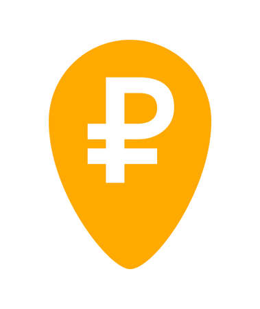 ruble currency symbol in pin point for icon, russia ruble money yellow orange, ruble money symbol in pointer pin, russian ruble currency coin for button info graphics flat simple, isolated on white