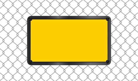 rectangle sign yellow on wire mesh background, caution emblem on fence barb grid, copy space, empty warning sign template on barrier wire net, barbed wire fence wall and emblem warning sign