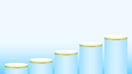 light blue pedestal cylinder circle 5 steps for cosmetics showcase, podium circle stage blue pastel soft color, platform five steps and advertising copy space, podium round for product display Stok Fotoğraf - 154522690