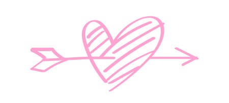 heart shape pink with arrow line isolated on white, heart pierced by an arrow for valentine's day concept, arrow and heart for clip art pink line, arrows hitting a heart shaped target Stok Fotoğraf - 154522693