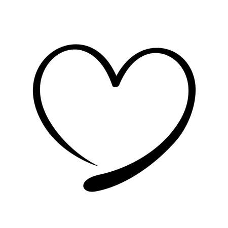 heart shape doodle black line isolated on white, frame heart shape art line sketch brush for valentine, heart shape sign with hand drawn for element icon love card, draw line heart shape simple black Stok Fotoğraf - 154522702