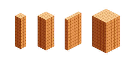 wooden cubes isometric for children learning, tower wood cubes sample different isolated on white, 3d cubes wood for logic counting of preschool children, block wooden square for mathematical game kid Stok Fotoğraf - 154522726
