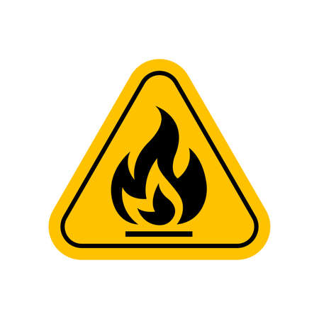 flammable materials warning sign, caution fire sign yellow, gas hazard symbol, attention fire hazard icon, triangle flame warning sign