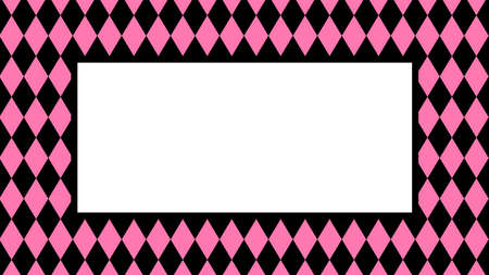 banner pink black rhombus pattern for background, black pink frame for cosmetics banner background, black pink in pattern diamond rhomb shape, copy space Stok Fotoğraf - 154522738