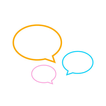 speech bubble line ellipse isolated on white, dialog circle shape for graphic chat talk sign, speech bubble for copy space text, conversation comic circle symbol, circle art line balloon dialog speech Çizim
