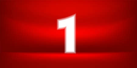 Number one white glow on red luxurious background, No. 1 on red background, First or 1st Place for Banner Anniversary