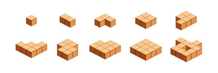 wooden cubes for children learning counting number one to ten, wood cubes sample with different isolated on white, 3d cubes wood for preschool children, block wooden square for mathematical game kids
