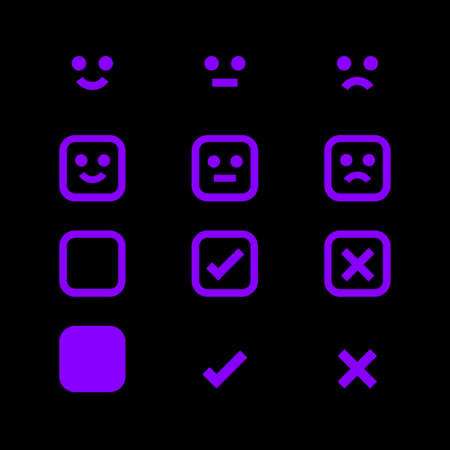 purple glowing icon and emotions face, emotional symbol and approval check sign button, fluorescent emotions faces and checkmark x or confirm and deny, button glowing flat for apps, icons check mark