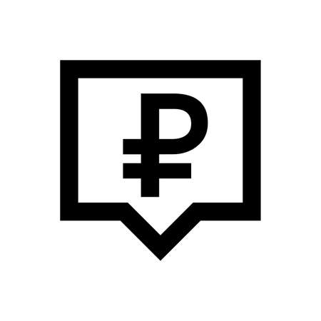 ruble currency symbol in speech bubble square black for icon isolated on white, russia ruble money for app symbol, simple flat russian ruble money, currency digital ruble coin for financial concept