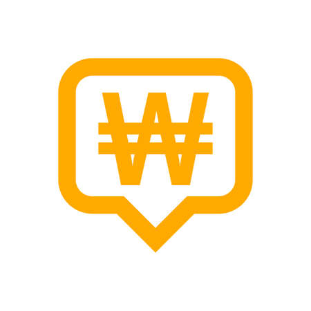 won currency symbol in speech bubble square shape for icon, monetary won currency symbol, korean won coin in flat style for digital app and website, simple won symbol orange color