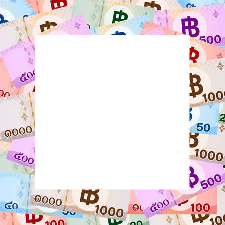 thai banknote money baht and white space for banner, thai currency THB for background, money thailand baht flat style in top view, illustration paper money graphic, bank note and copy space background Stok Fotoğraf - 154722910