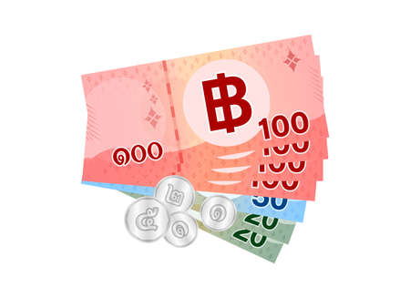 thai banknote money 499 baht isolated on white, thai currency four hundred ninety nine THB concept, money thailand baht for flat icon style, illustration paper money with B symbol graphic