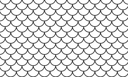 mermaid pattern, fish scale pattern black art line on white background, mermaid tail pattern black line art for decoration Stok Fotoğraf - 154726844