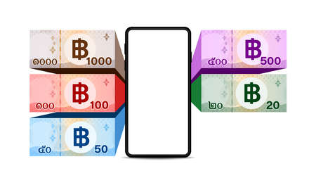 smartphone screen and banknote money thai baht, banknote money THB and mobile phone wallet, money bank note 1,000, 500, 100, 50, 20 type, paper money and smartphone, wallet and online shopping concept Stok Fotoğraf - 154726848